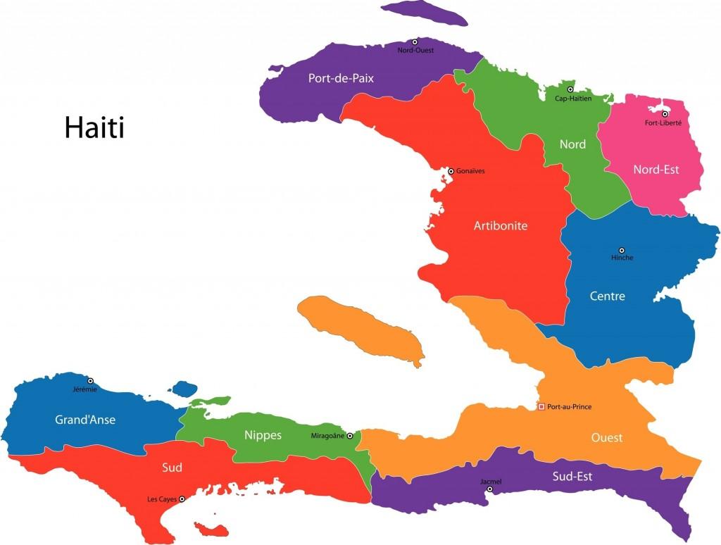 Haitian map, ten departments