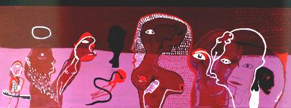 Agostinho Santos 2001 CONFISSÕES DE SANTO AGOSTINHO, SEGUNDO AGOSTINHO SANTOS Acrílico s/ Madeira 62 x 180 cm