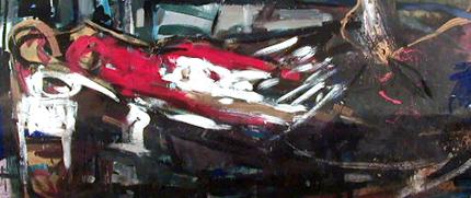 Artur Bual, Augusto Canedo, Henrique Silva, Henrique do Vale, Jaime Isidoro e Margarida Leão, 1992 S/ TÍTULO Acrílico s/ Platex 120 x 270 cm