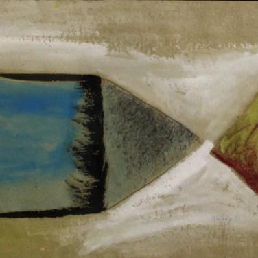 """Rui Anahory, 1981 """"Pintura II"""" Guache s/ papel 60x73 cm Obra apresentada na III Bienal Internacional de Arte de Cerveira, realizada de 24 de Julho a 31 de agosto de 1982."""