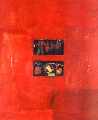 Sílvia Carreira 1999 ONDE ESTÃO AS MALAS Técnica Mista s/ Contraplacado 125 x 100 cm