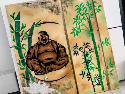 DIY Keilrahmen - Buddha Bambus