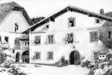 Herbert Bauer, alte Post in Schladming, 42 x 29,7 cm, Bleistift auf Papier