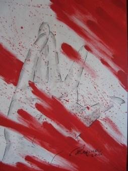 Regina Merta, helfende Hand, 80 x 100 cm, Acryl auf Leinen, 2011