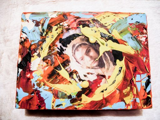 Herwig Maria Stark, ART CUBE 1/1, size 15 x 20 x 6 cm, Mixed media on wooden cube