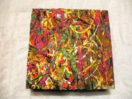 Herwig Maria Stark, ART CUBE 3/3, size 20 x 20 x 6 cm, Mixed media on wooden cube