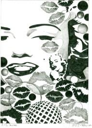 Herbert Bauer, MARILYN, Orig. Graphitstiftzeichnung, 30 x 21 cm, 2014