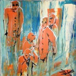 Jürgen Bley, LEUTE, Acryl auf Leinwand, 40 x 40 x 2 cm, (mit oder ohne Schattenfugenrahmen schwarz), 2015