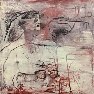 Jürgen Bley, KOPFSACHE, Öl-Acryl Mischtechnik auf Leinwand, 40 x 40 x 2 cm, (mit oder ohne Schattenfugenrahmen schwarz), 2015