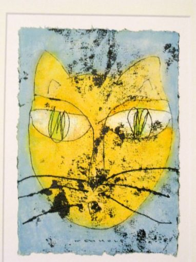 Hannes Neuhold, KATZE no 5, mixed media on handcrafted paper, 21 x 15 cm