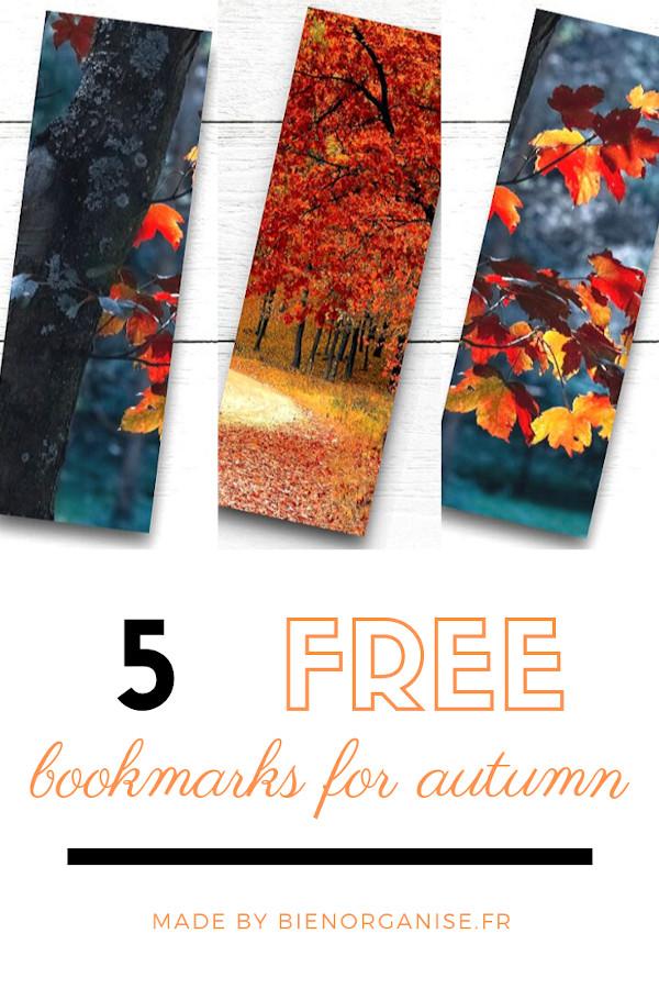 marque pages gratuits version automne pour ne pas corner les livres