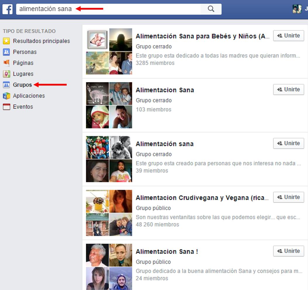 Facebook búsqueda de grupos