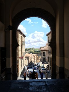 View out of one of the plaza arches.