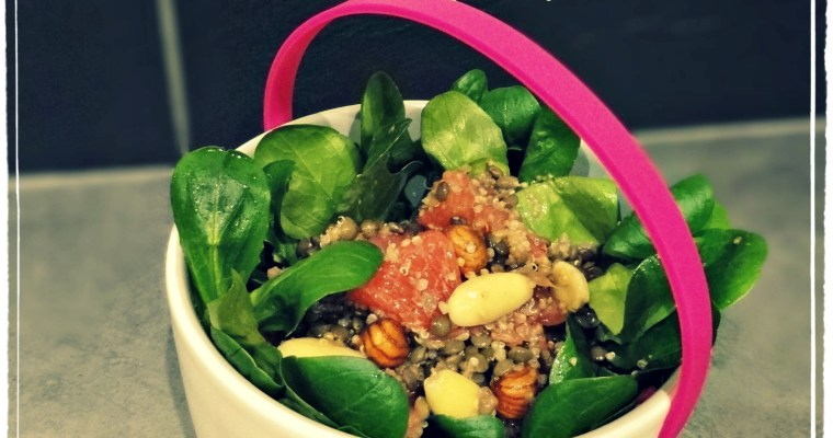 Salade de lentilles vertes et quinoa au pamplemousse et pleins de bonnes choses dedans :-)