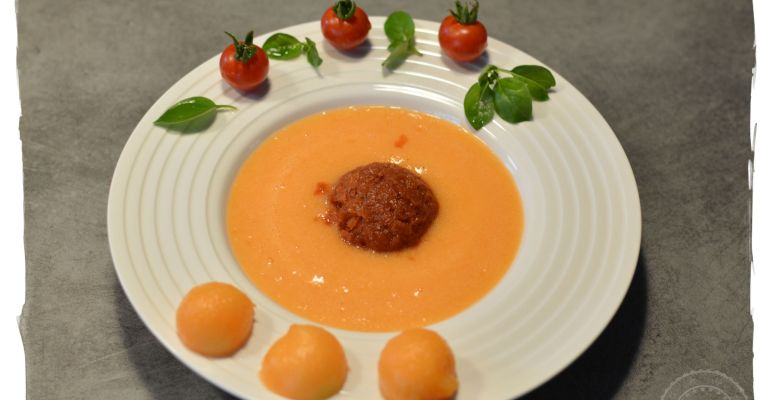 Gaspacho de Melon et son sorbet de tomates