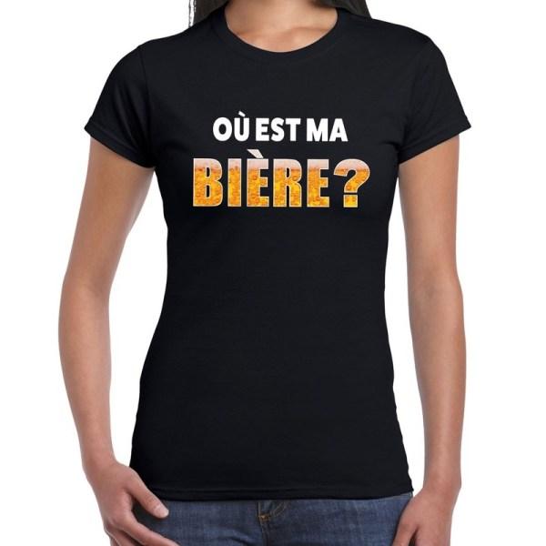 Ou est ma Biere fun shirt zwart voor dames drank thema