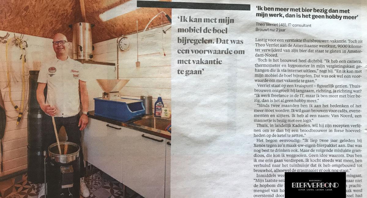 Theo Verriet in der Parool- Brauerei Bierverbond Amsterdam