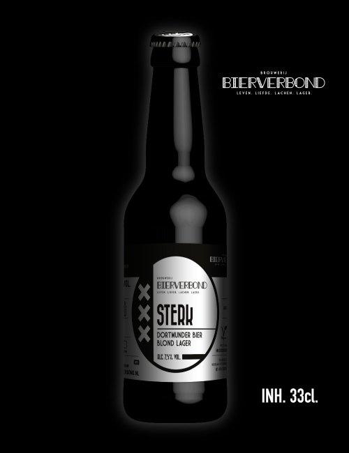 Sterk, Dortmunder bier blond lager van Brouwerij Bierverbond Amsterdam