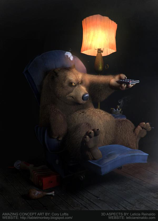 bjørn i en stol med tv kontroll