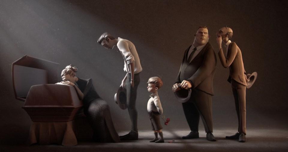 fem personer i begravelse ved kiste