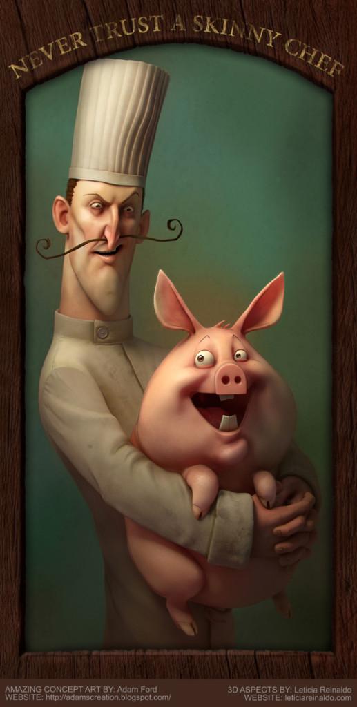 en kokk som holder en gris