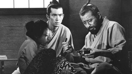 (Left to right) Sahachi (Yamazaki Tsutomo), Dr. Yasumoto (Kayama Yuzo), and Dr. Niide/Red Beard (Mifune Toshiro) in Kurosawa's Red Beard