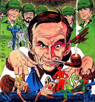 Portrait of Bob Kanigher by Joe Kubert. The Comics Journal #85