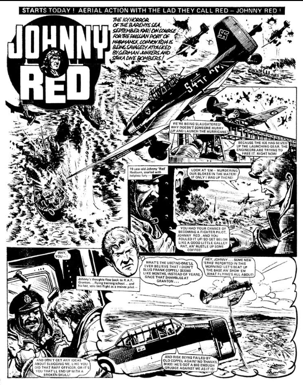 The first installment of Johnny Red; Tom Tully script, Joe Colquhoun, art. From Battle Picture Weekly and Valiant No. 100, January 1977.