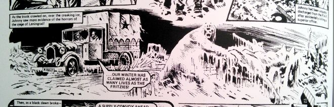 One of the panels that has always haunted me. Joe Colquhoun, art; Tom Tully, script. From Johnny Red: Falcon's First Flight,