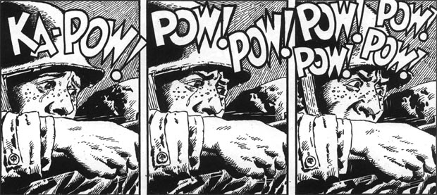 """Panels from """"Holding Action,"""" Blazing Combat #2, art by John Severin"""