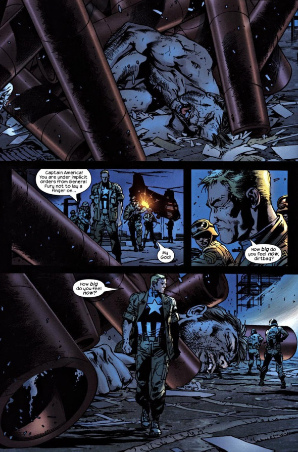 Page from The Ultimates #9, 2003). Script by Mark Millar, art by Bryan Hitch.