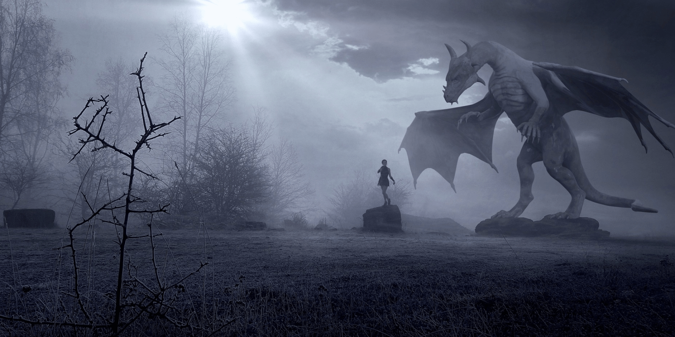 a dragon towering over a woman - dramatic b&w