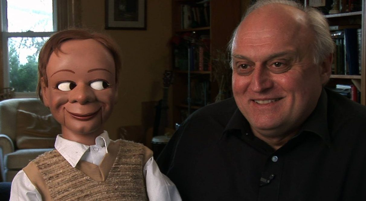 """Alan Semok and his ventriloquist figure, Eugene Wood from """"I'm No Dummy"""""""