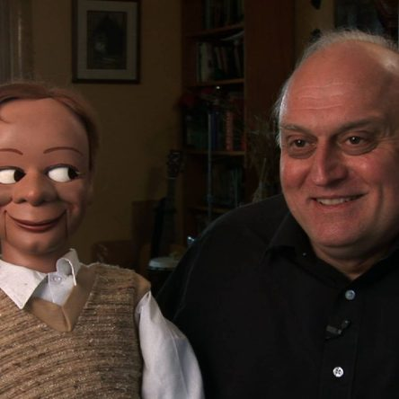 "Alan Semok and his ventriloquist figure, Eugene Wood from ""I'm No Dummy"""