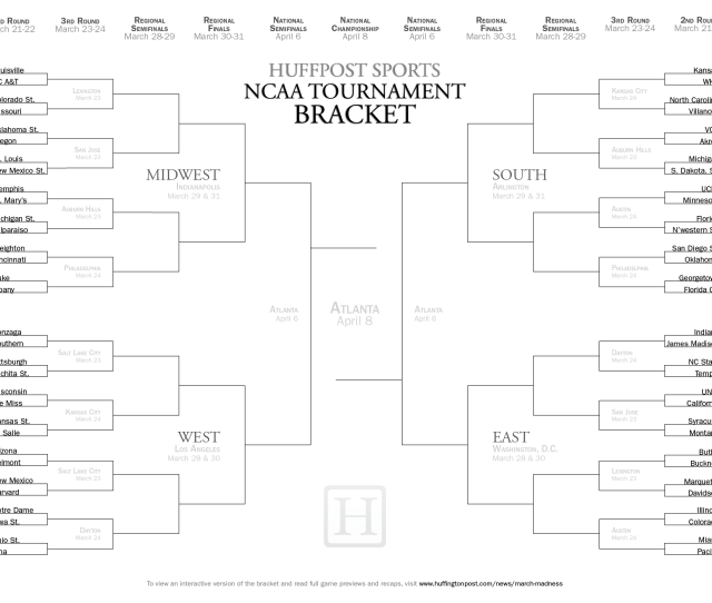 Ncaa Tournament Bracket 2013 Printable March Madness Match Ups