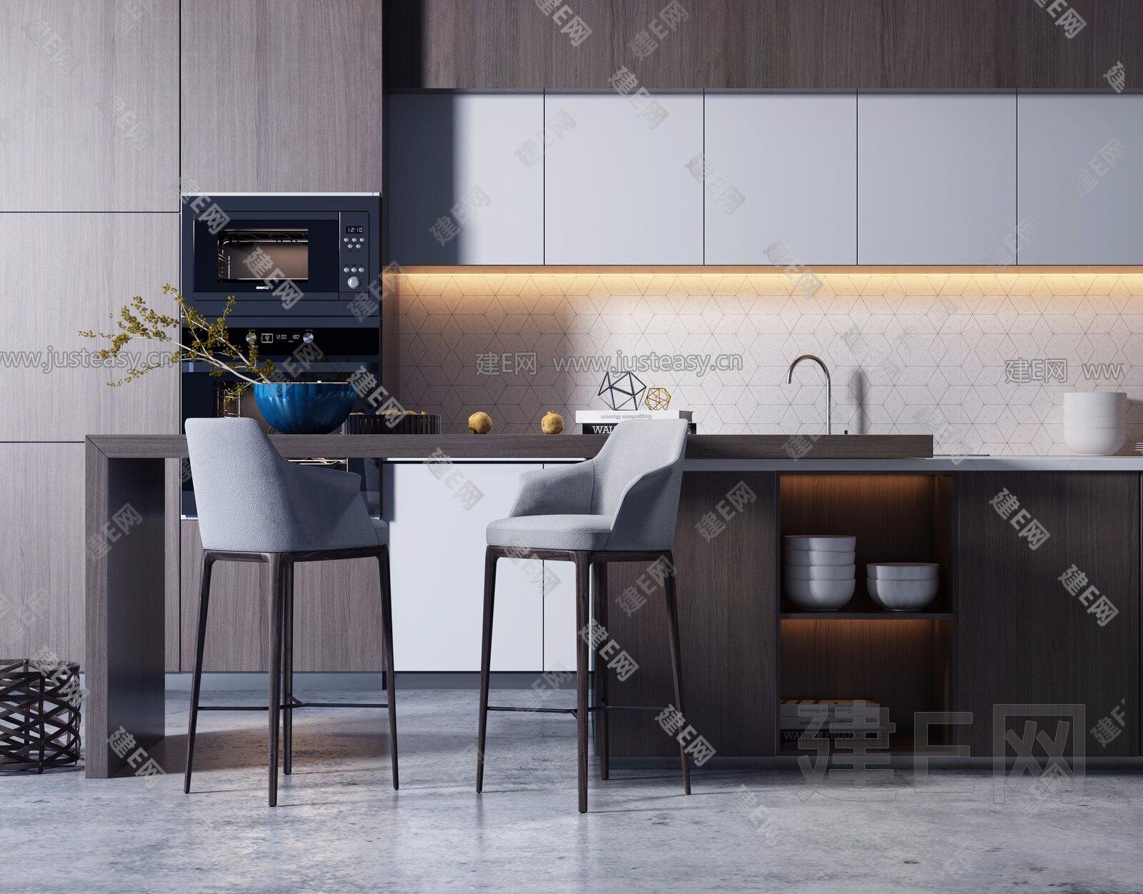 kitchen bar chairs personalized items 现代开放厨房吧台吧椅组合 建e网3d模型分享交流平台 3d模型下载 3d模型 现代开放厨房吧台吧椅组合3d模型