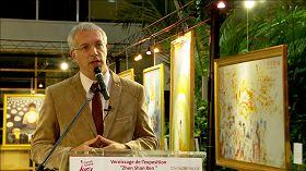 法國汝拉省總理事會主席克里斯托弗•貝合尼在美展開幕式上致詞。