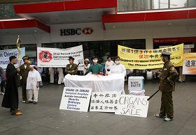 '悉尼聲援三退集會現場,揭露中共迫害法輪功的模擬演示'