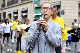法國中國民主黨副主席姜友陸在集會上發言