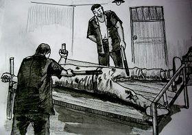 中共酷刑示意圖:長期綁床並電擊