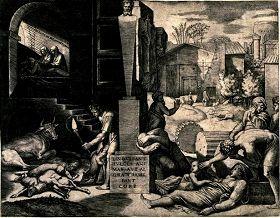 (圖4)畫家用筆記錄下第四次瘟疫來臨時羅馬首都君士坦丁堡的悲慘景象。