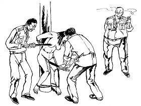 '中共酷刑示意圖:性虐待,惡警用電棍電擊法輪功女學員的乳房、陰部,把電棍插入婦女陰道內電擊,連未婚的姑娘也不放過。'