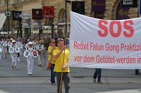 法輪功學員在奧地利首都維也納舉行遊行,呼籲制止中共迫害法輪功