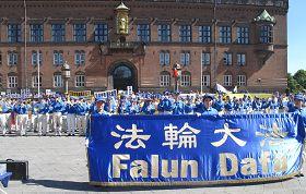 '二零一三年七月二十日,歐洲法輪功學員在丹麥哥本哈根議會廣場舉行反迫害集會'