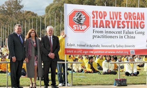 圖說:澳洲國會參議員約翰•馬迪根(右)、眾議員克雷格•凱利(左)和悉尼大學辛格教授(中)在堪培拉國會山莊聲援法輪功學員舉辦的「反活摘器官」集會。