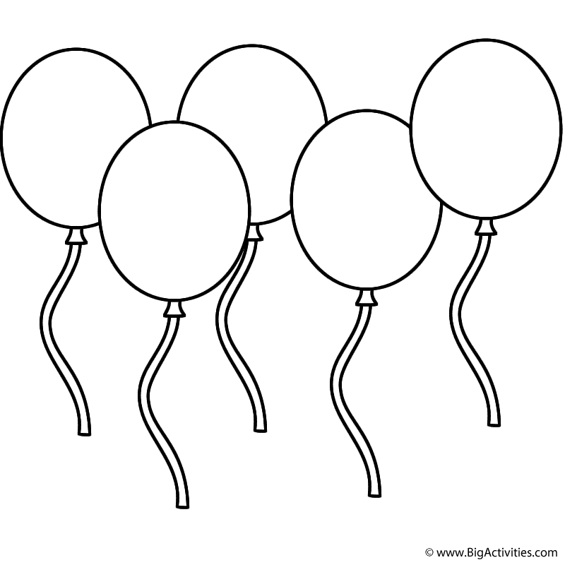 Five Balloons Coloring Page Independence Day