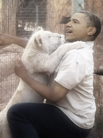 obama training lion to eat christians