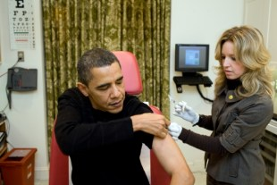Doctors immediately give Obama anti-Ebola vaccine.