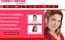 Cuddly Dating review homepage
