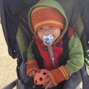 Toddler Hat and fingerless gloves